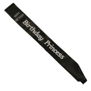 Birthday Princess Black Satin Sash