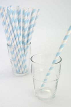Blue and White Striped Straws (25)