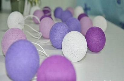Purple Toned Cotton Ball String lights